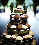 five tiered tower of cupcakes