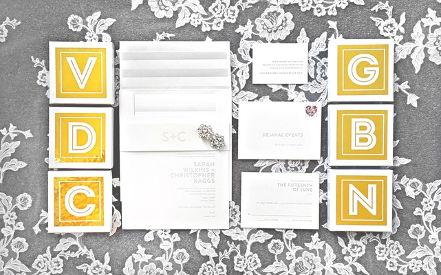 simple, clean wedding invitations, minimalist invitation suite, white invitation suite with embossed