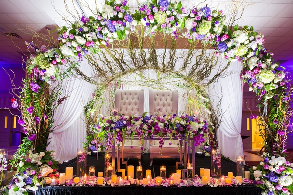 Classic Church Ceremony Ballroom Reception With Chic Purple Dcor