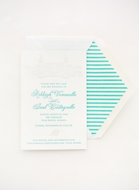 Letterpress save-the-date with blue lettering