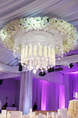 Kandi Burruss wedding ceremony flower chandelier