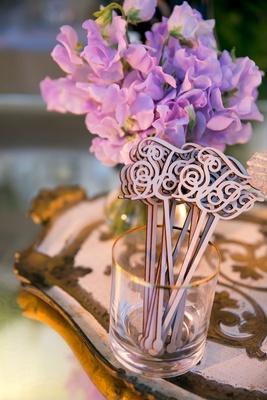 Wedding reception vow renewal ideas monogram wood laser cut drink stirrer swizzel stick cursive