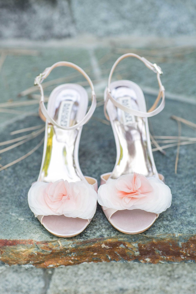 pink bridal heels low Badgley Mischka metallic soles straps strappy
