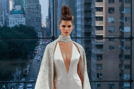 Ines Di Santo Fall 2018 bridal collection halter jumpsuit with cape