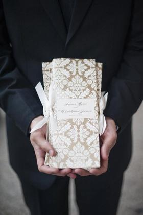 Gold and white damask print wedding ceremony program