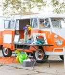 vw van, volkswagen van as photobooth for vintage travel themed maui wedding