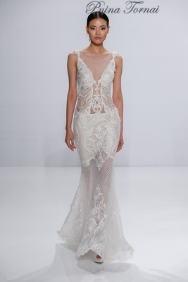 Pnina Tornai for Kleinfeld 2017 Dimensions Collection sheer wedding dress net embroidery lace v neck