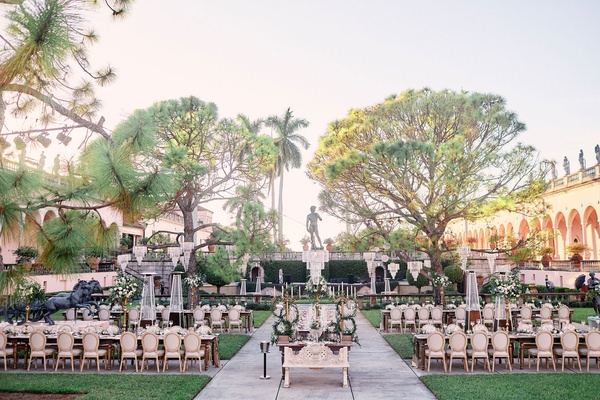 ringling museum wedding reception in outdoor courtward in front of fountain