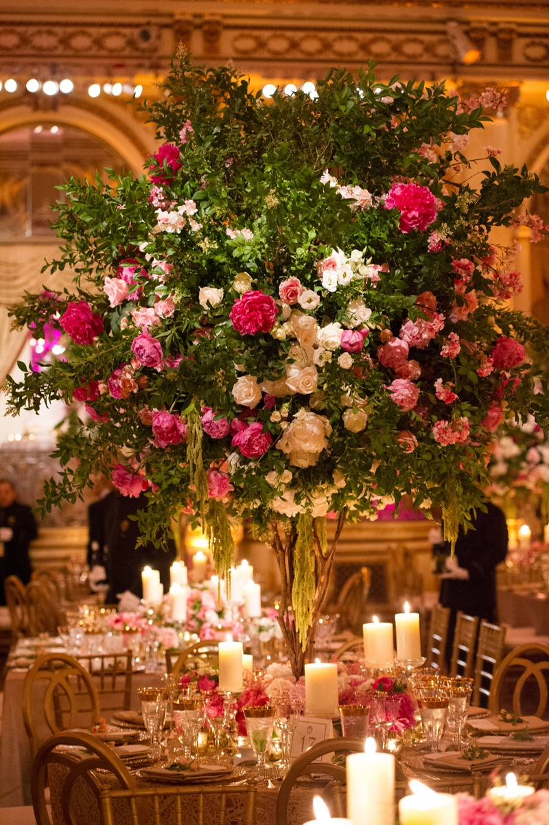 Reception décor photos tree like centerpiece with pink