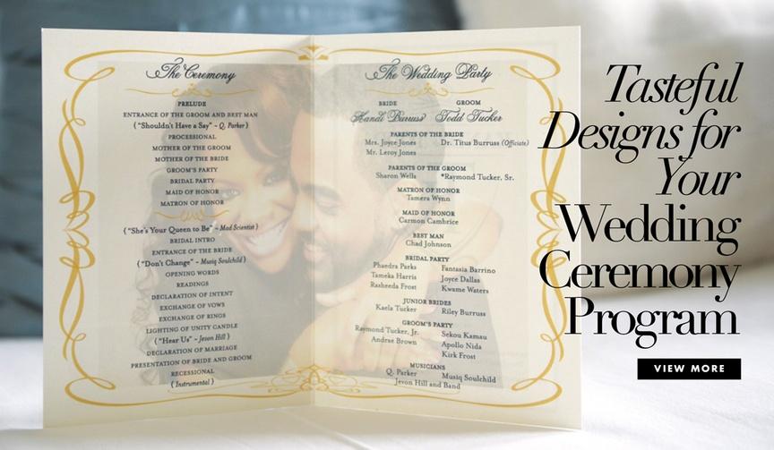 Tasteful designs for your wedding ceremony program view more