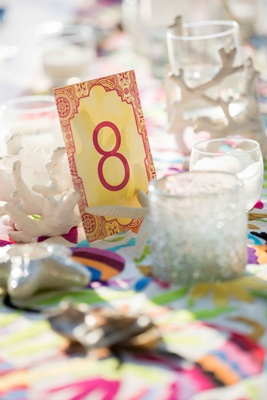 bright colorful table number card pink red yellow destination wedding styled shoot mexico tropical