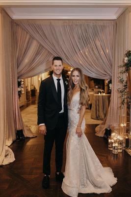 Suzanna Villarreal and Alex Wood LA Dodgers wedding reception drapery blush bride in berta gown