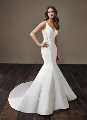 Badgley Mischka Bride 2018 collection wedding dress Beth sleek satin silk mermaid trumpet gown lace