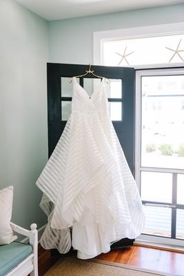 hayley paige striped wedding wedding v-neck a-line gown
