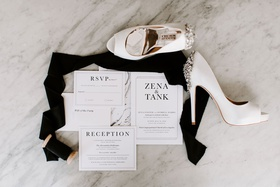 classic black and white invitation suite, badgley mischka bridal shoes with jeweled heel