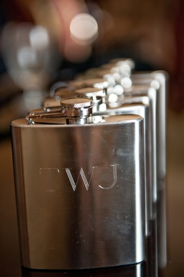 silver flask featuring newlyweds' monogram