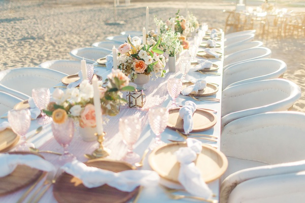 destination wedding in cabo san lucas, head table on the sand, pale and soft colors