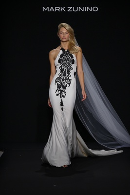 Mark Zunino for Kleinfeld 2016 halter neck wedding dress with black damask print