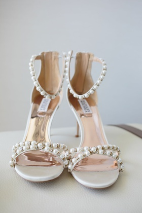 wedding shoes with pearl details on ankle and toe straps sandals badgley mischka