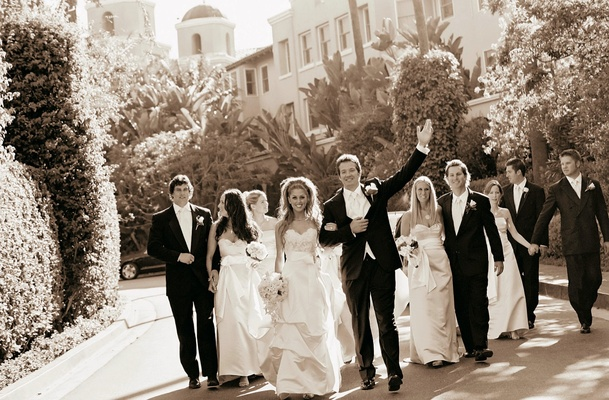 Sepia tone picture of wedding party at Beverly Hills Hotel