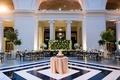 wedding reception navy and white diamond motif dance floor chicago museum cake in center reception