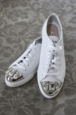 miu miu sneakers in white with silver and crystal toes, reception bridal dancing shoes