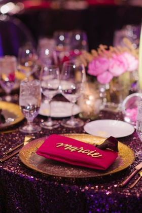 Wedding reception place setting gold charger plate pink napkin modern calligraphy place card sign