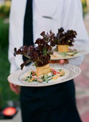 Baby red oak lettuce and vegetables