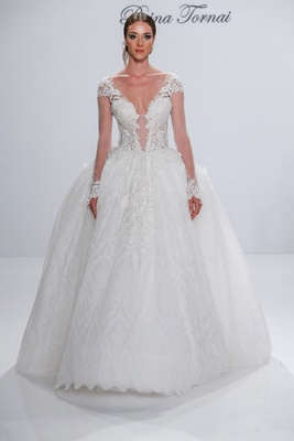 Pnina Tornai for Kleinfeld 2017 Dimensions Collection long sleeve princess ball gown sheer sleeves