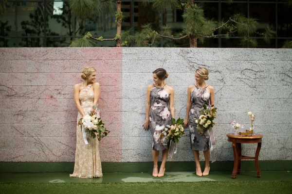 bride in sew to me couture champagne gown with bridesmaids in asos dresses