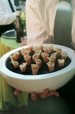 Cone wedding appetizers with caviar and ahi