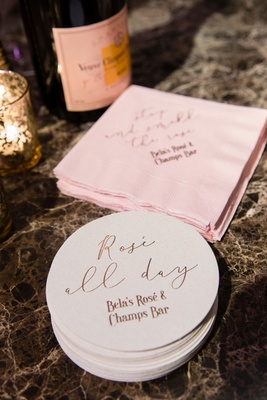 Cocktail hour custom coasters and beverage napkins pink and rose gold rose and champagne bar ideas