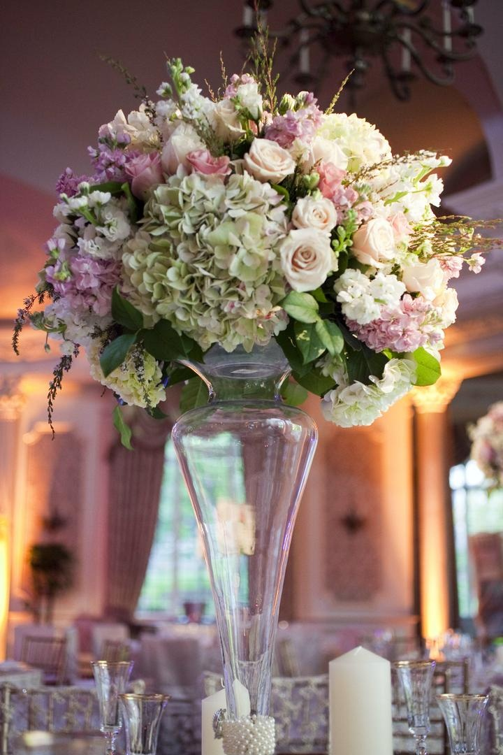 Reception Dcor Photos Tall Centerpiece With Pink Ivory Flowers