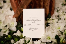Wedding ceremony program with grey calligraphy