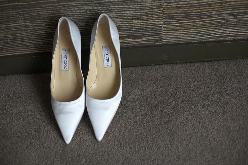 d333f08d3e3 Shoes   Bags Photos - White Jimmy Choo Shoes - Inside Weddings