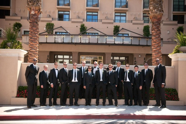 Groom with groomsmen in front of Montage Beverly Hills