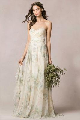 Jenny Yoo Wedding Dress With Flower Print And Strapless Neckline