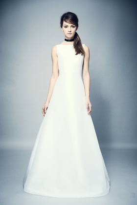 ROMONA New York Spring 2018 collection a line mikado gown with boat neckline
