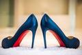 wedding shoes something blue navy blue satin heels christian louboutin heels