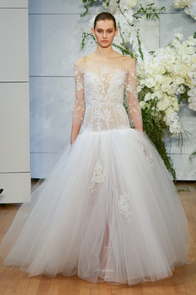 Monique Lhuillier Spring 2018 bridal collection Yasmin wedding dress tulle sweetheart ball gown