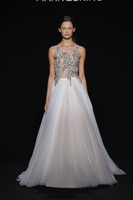 Mark Zunino for Kleinfeld 2016 platinum applique bodice and a-line wedding dress skirt