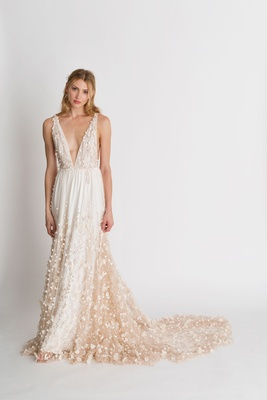 "Alexandra Grecco fall winter 2018 ""The Magic Hour"" wedding dress Iris v neck bridal gown flowers"