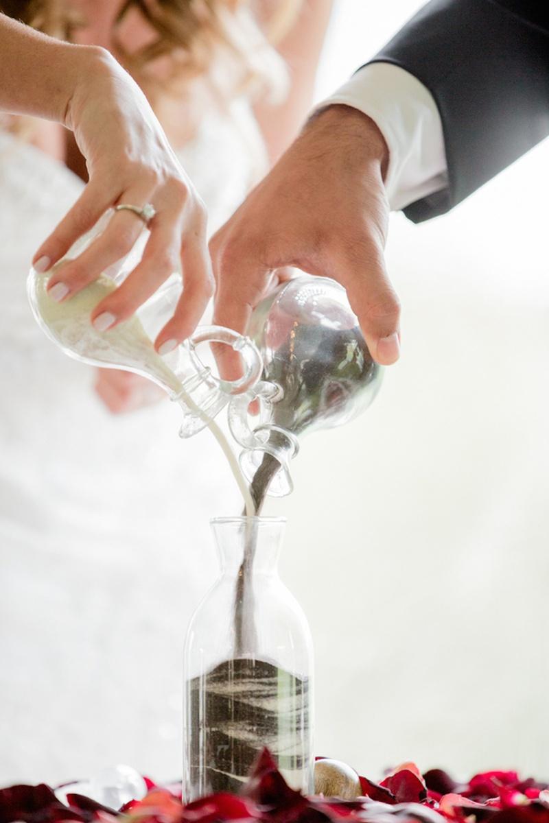 black white sand ceremony wedding sand ceremony Brock Osweiler and Erin Costales wedding sand ceremony