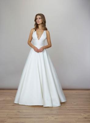Liancarlo Spring 2020 bridal collection wedding dress v neck silk mikado ball gown criss cross back