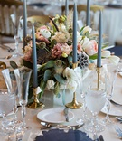 wedding reception gold candleholder taper candlescenterpiece with scabiosa pods white pink flowers