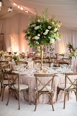 DeMarco Murray wedding tent reception lace linen tall green white centerpiece gold vase