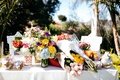 colorful bouquets of flowers lay on table