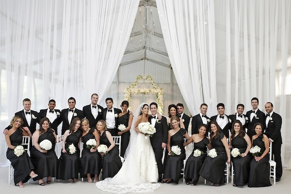 Formal black and white wedding party in Chicago