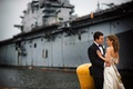 Bride in a Monique Lhuillier gown and groom in a black tuxedo at the former Philadelphia Navy Yard
