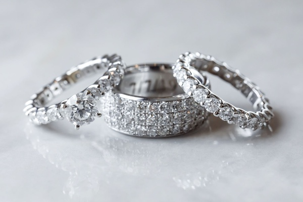 wedding rings diamond engagement ring and eternity band with men's band three rows of diamonds